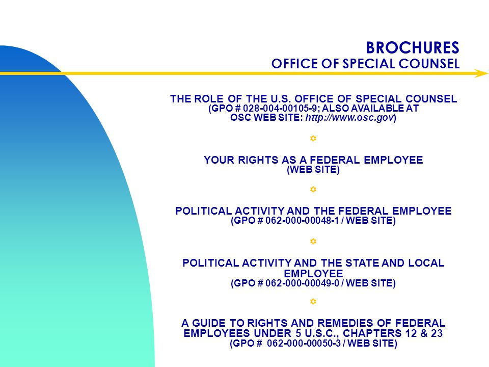 BROCHURES OFFICE OF SPECIAL COUNSEL