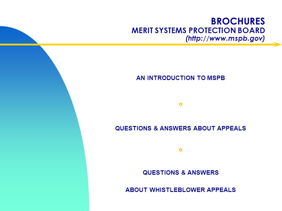 BROCHURES MERIT SYSTEMS PROTECTION BOARD (http://www.mspb.gov)
