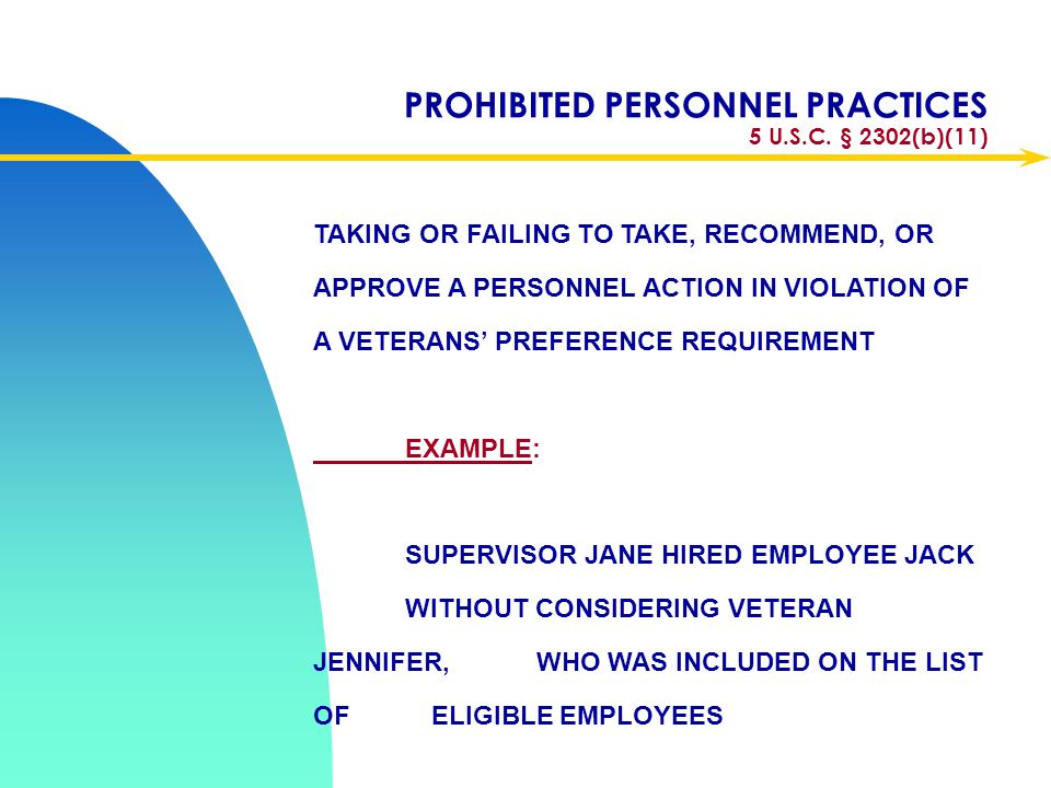 PROHIBITED PERSONNEL PRACTICES 5 U.S.C. § 2302(b)(11)