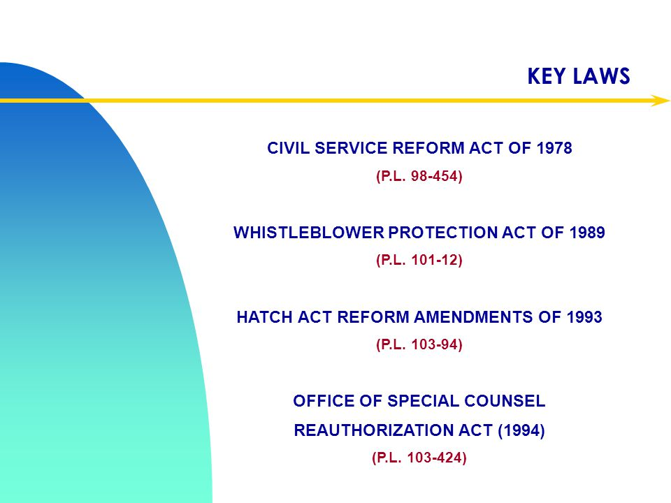 KEY LAWS CIVIL SERVICE REFORM ACT OF 1978