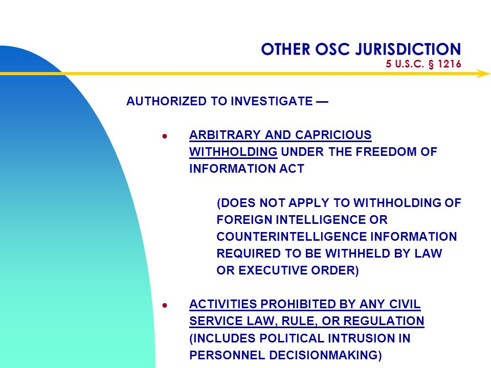 OTHER OSC JURISDICTION 5 U.S.C. § 1216