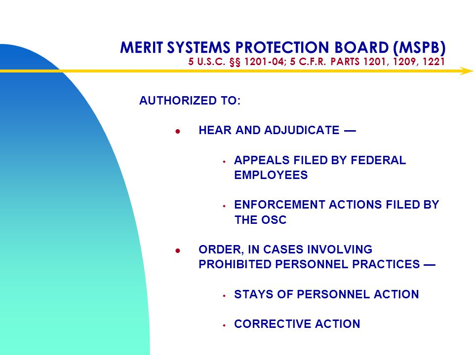 Apr-17 MERIT SYSTEMS PROTECTION BOARD (MSPB) 5 U.S.C. §§ 1201-04; 5 C.F.R. PARTS 1201, 1209, 1221. AUTHORIZED TO: