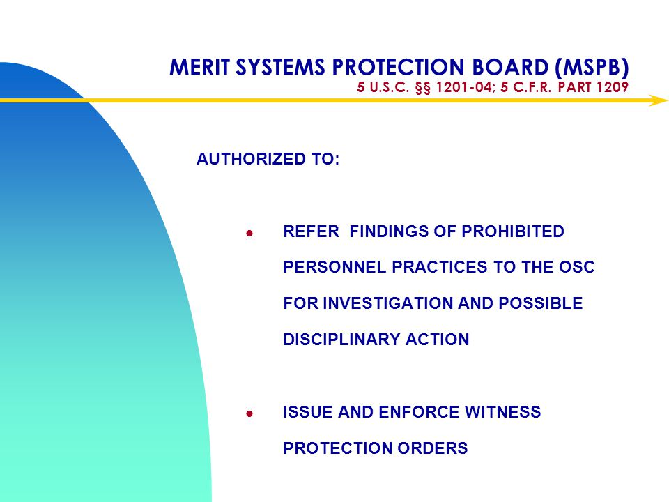 Apr-17 MERIT SYSTEMS PROTECTION BOARD (MSPB) 5 U.S.C. §§ 1201-04; 5 C.F.R. PART 1209. AUTHORIZED TO: