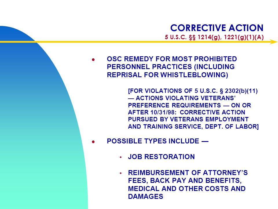 CORRECTIVE ACTION 5 U.S.C. §§ 1214(g), 1221(g)(1)(A)