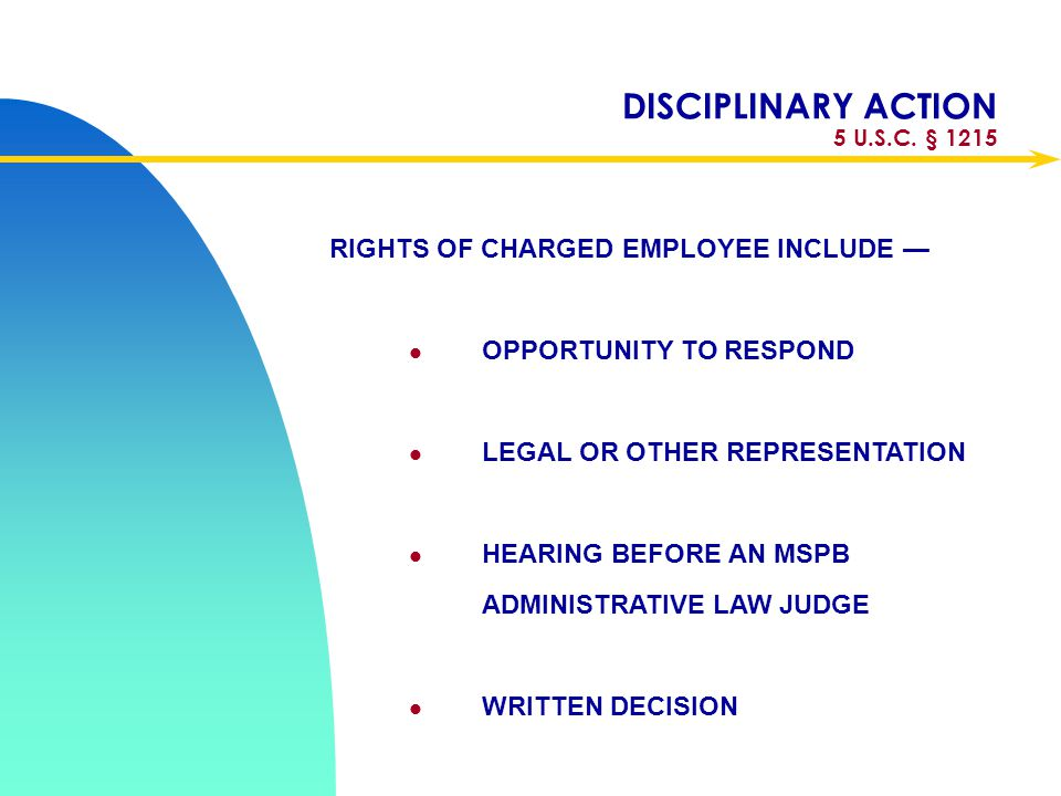 DISCIPLINARY ACTION 5 U.S.C. § 1215