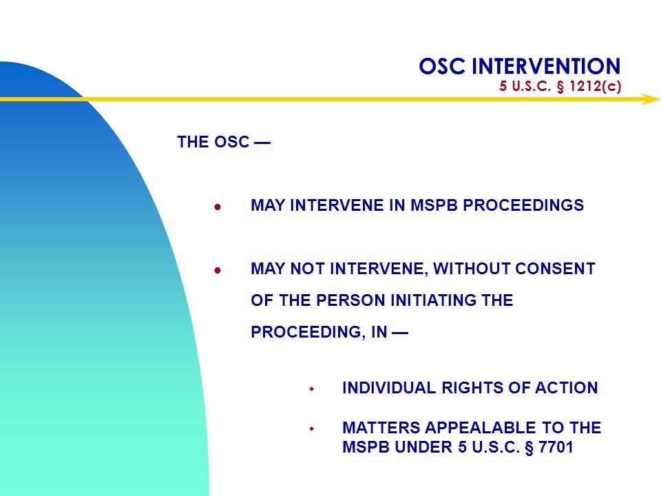 OSC INTERVENTION 5 U.S.C. § 1212(c)