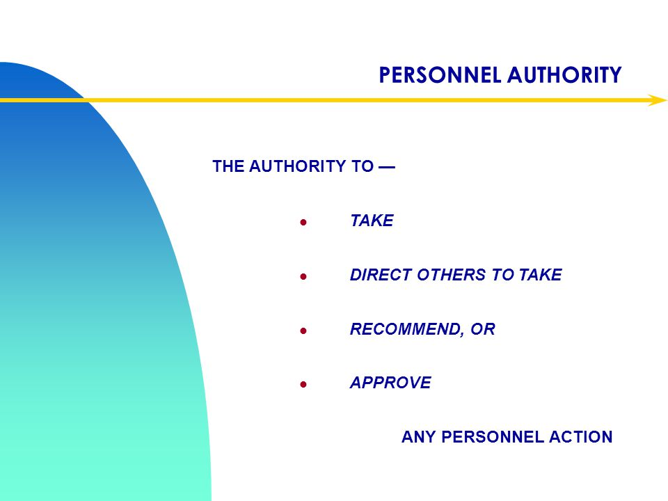 PERSONNEL AUTHORITY THE AUTHORITY TO — TAKE DIRECT OTHERS TO TAKE