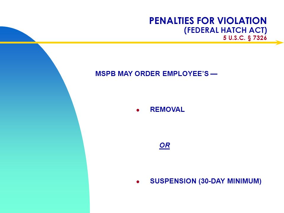 PENALTIES FOR VIOLATION (FEDERAL HATCH ACT) 5 U.S.C. § 7326