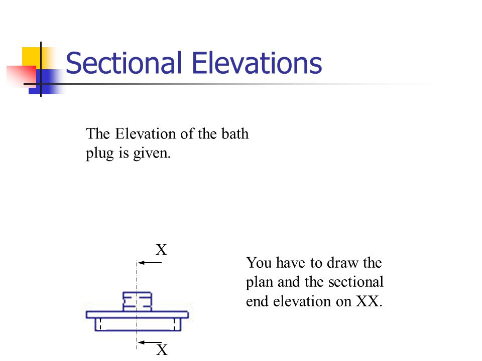Sectional Elevations The Elevation of the bath plug is given. X