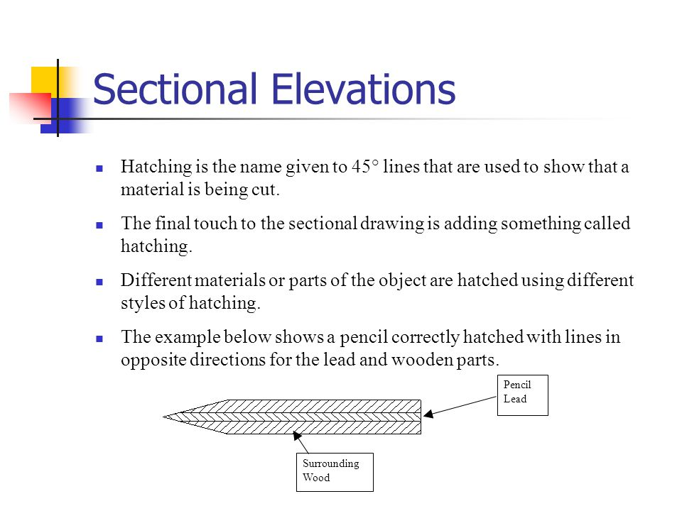 Sectional Elevations Hatching is the name given to 45° lines that are used to show that a material is being cut.