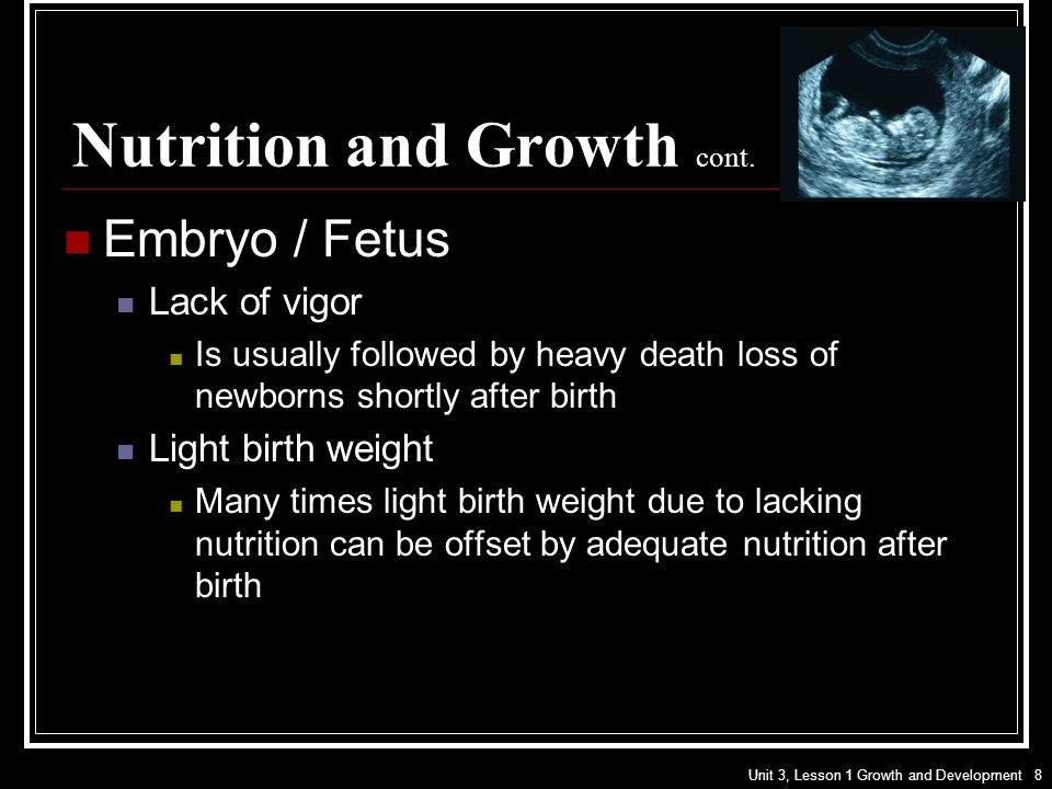 Nutrition and Growth cont.