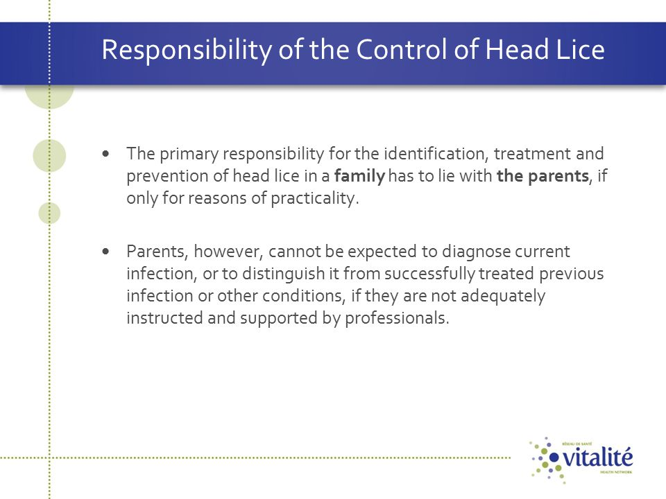 Responsibility of the Control of Head Lice