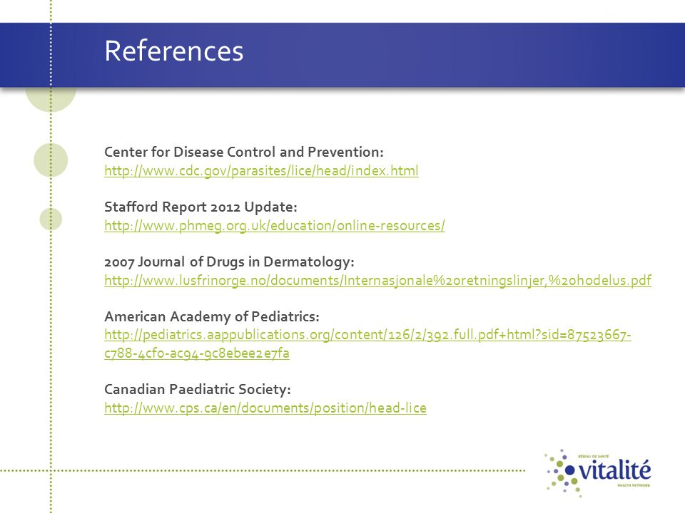 References Center for Disease Control and Prevention: