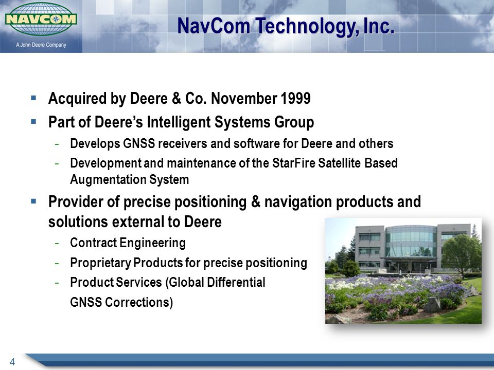 NavCom Technology, Inc. Acquired by Deere & Co. November 1999
