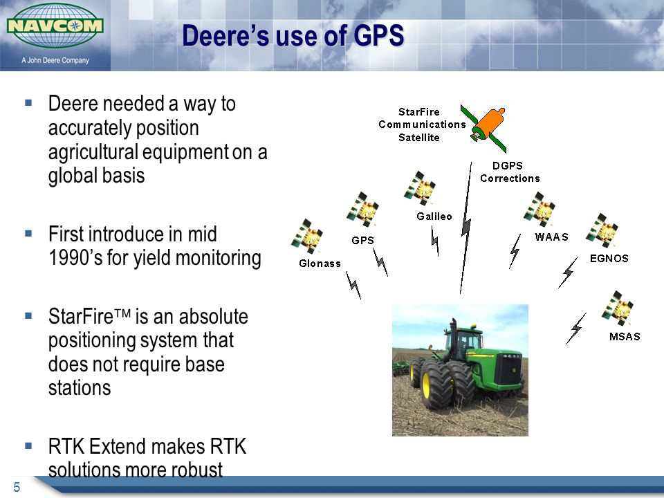 Deere's use of GPS Deere needed a way to accurately position agricultural equipment on a global basis.