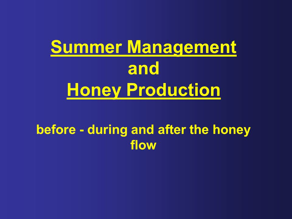 Summer Management and Honey Production before - during and after the honey flow