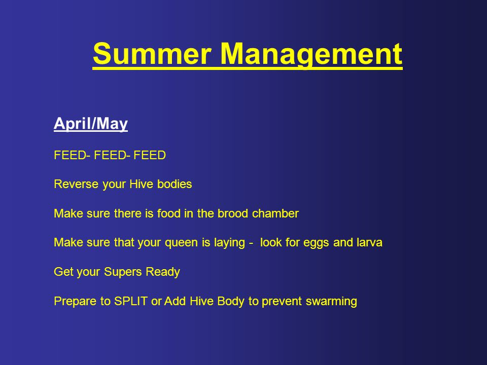 Summer Management April/May FEED- FEED- FEED Reverse your Hive bodies
