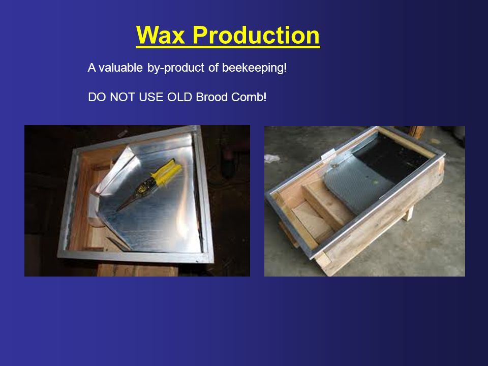 Wax Production A valuable by-product of beekeeping!