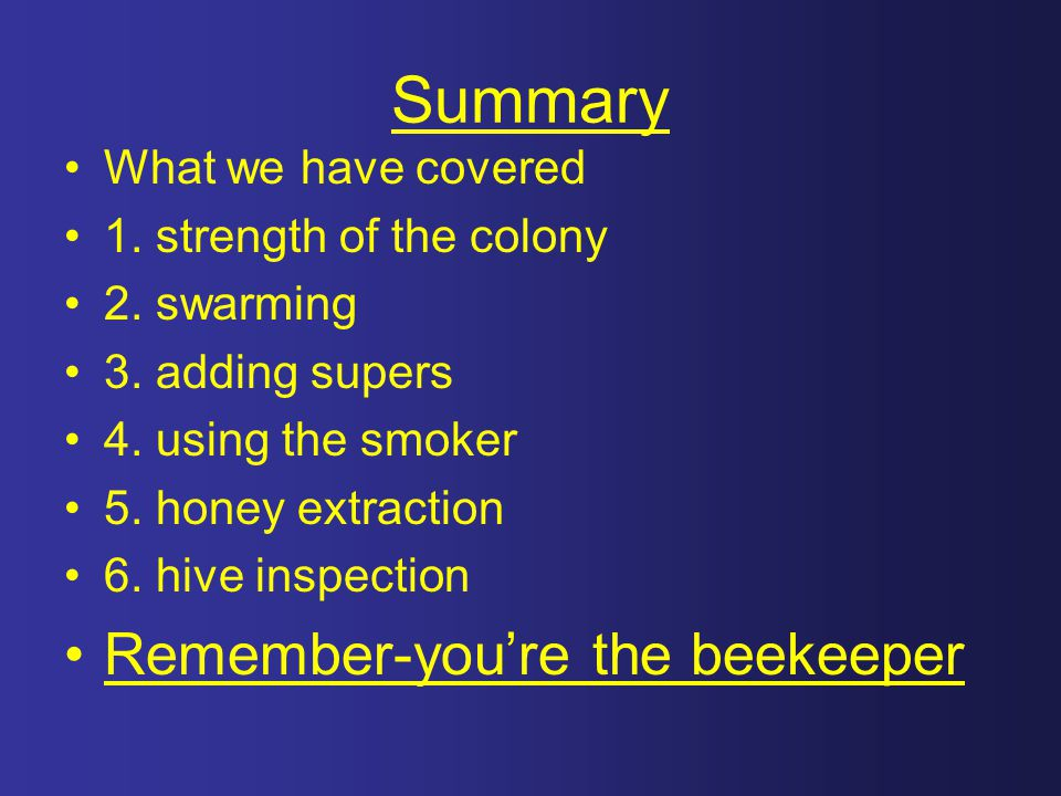 Summary Remember-you're the beekeeper What we have covered