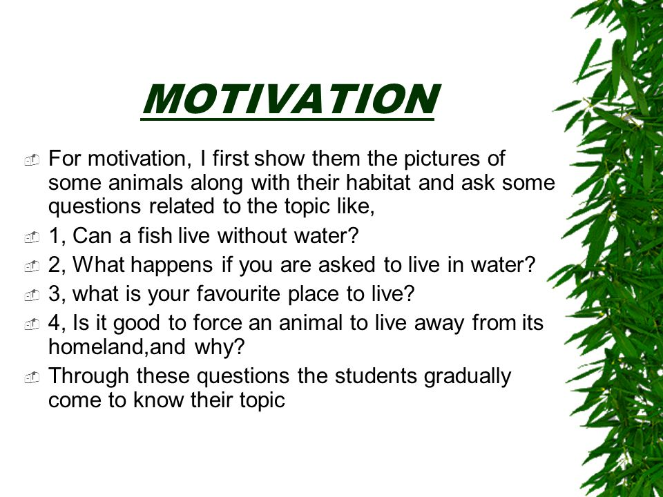 MOTIVATION For motivation, I first show them the pictures of some animals along with their habitat and ask some questions related to the topic like,