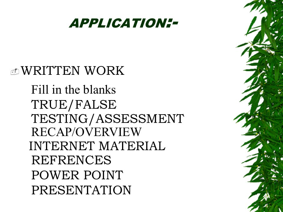 APPLICATION:- WRITTEN WORK. Fill in the blanks. TRUE/FALSE. TESTING/ASSESSMENT. RECAP/OVERVIEW.