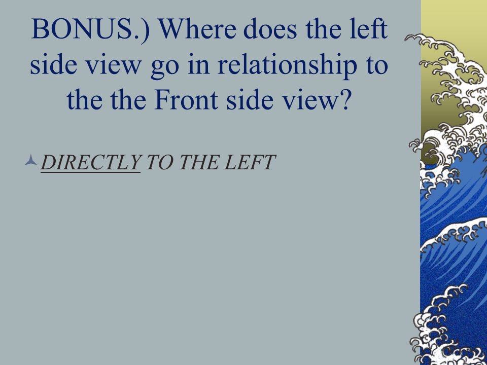 BONUS.) Where does the left side view go in relationship to the the Front side view