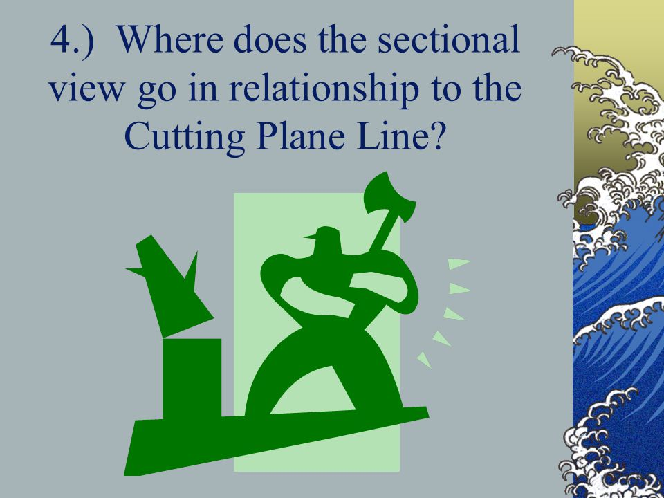 4.) Where does the sectional view go in relationship to the Cutting Plane Line