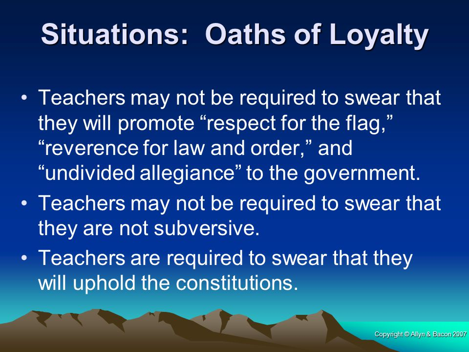 Situations: Oaths of Loyalty