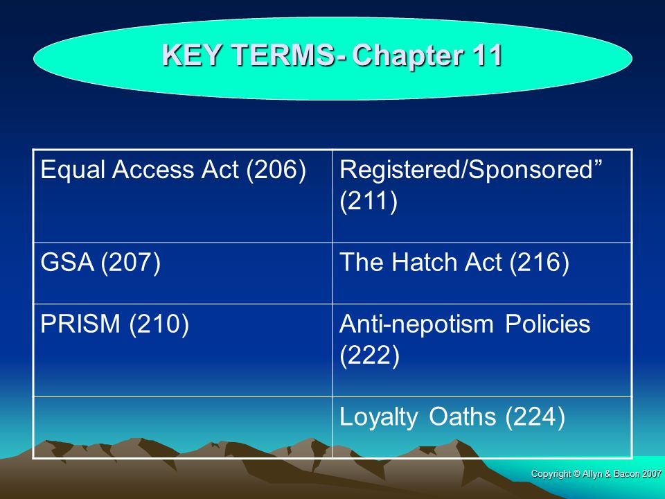 KEY TERMS- Chapter 11 Equal Access Act (206)