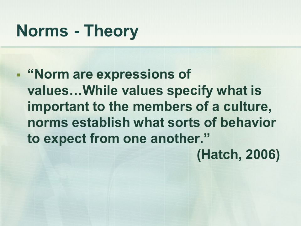 Norms - Theory