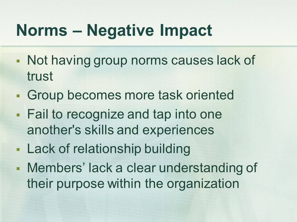 Norms – Negative Impact