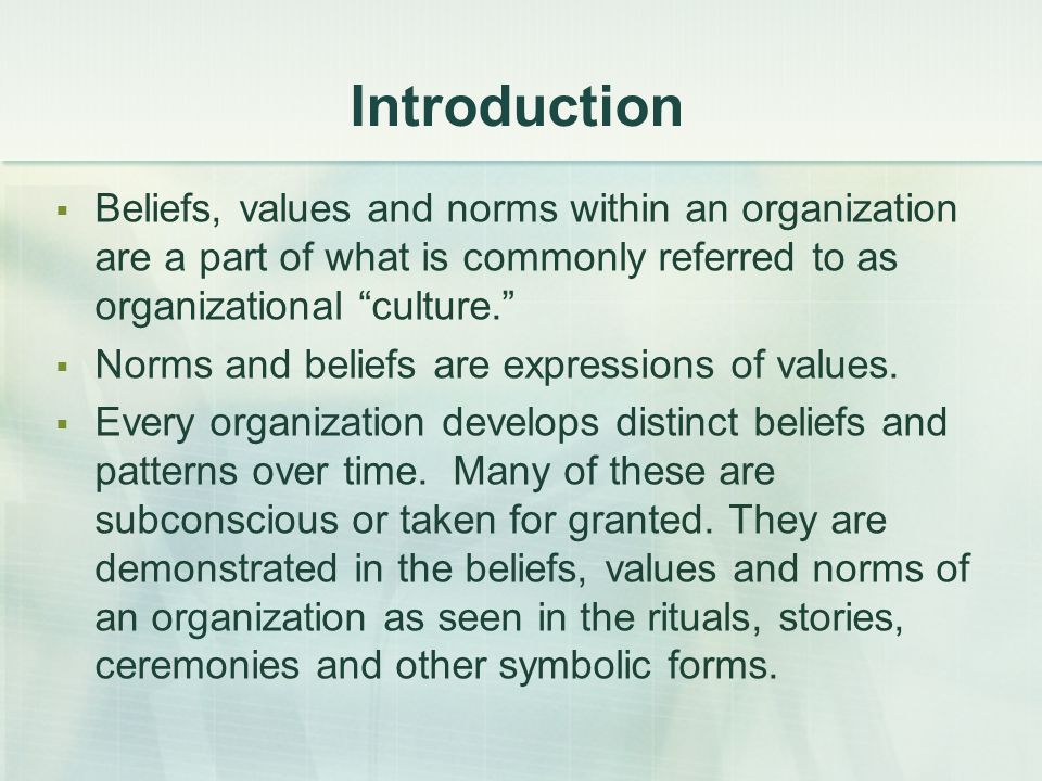 Introduction Beliefs, values and norms within an organization are a part of what is commonly referred to as organizational culture.