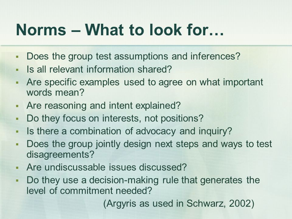 Norms – What to look for…
