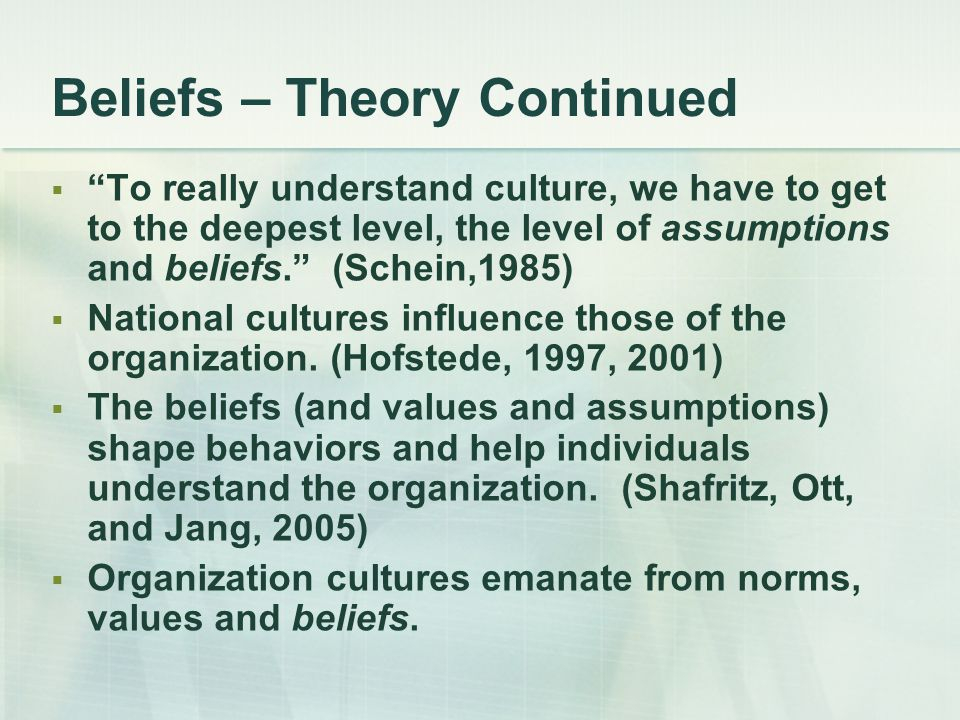 Beliefs – Theory Continued