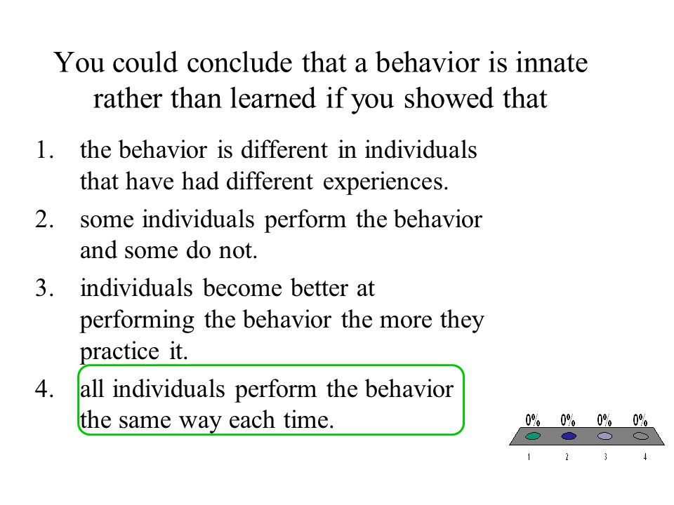 You could conclude that a behavior is innate rather than learned if you showed that