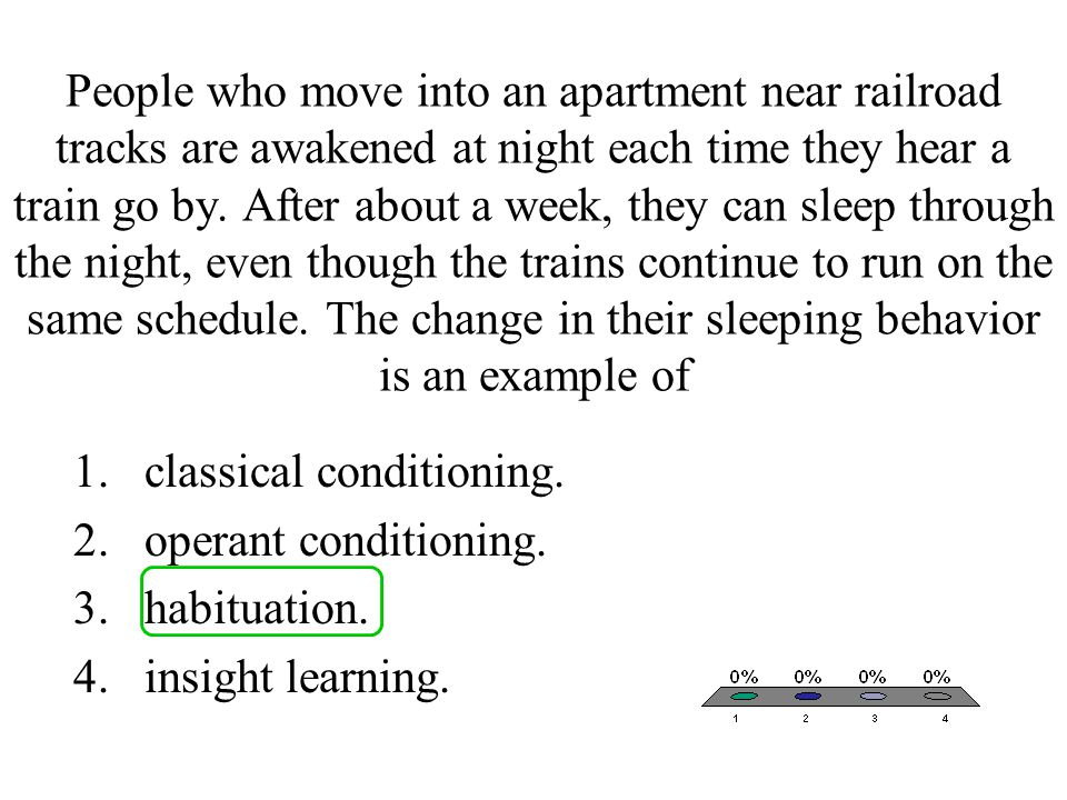 People who move into an apartment near railroad tracks are awakened at night each time they hear a train go by. After about a week, they can sleep through the night, even though the trains continue to run on the same schedule. The change in their sleeping behavior is an example of