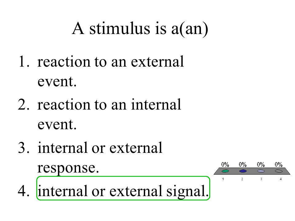 A stimulus is a(an) reaction to an external event.