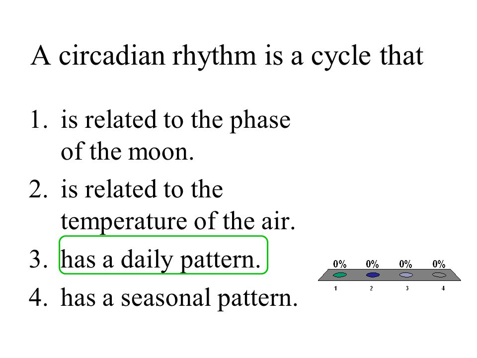 A circadian rhythm is a cycle that