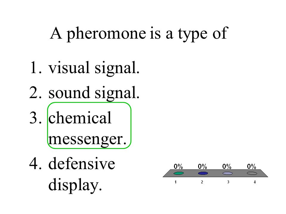 A pheromone is a type of visual signal. sound signal. chemical messenger. defensive display.