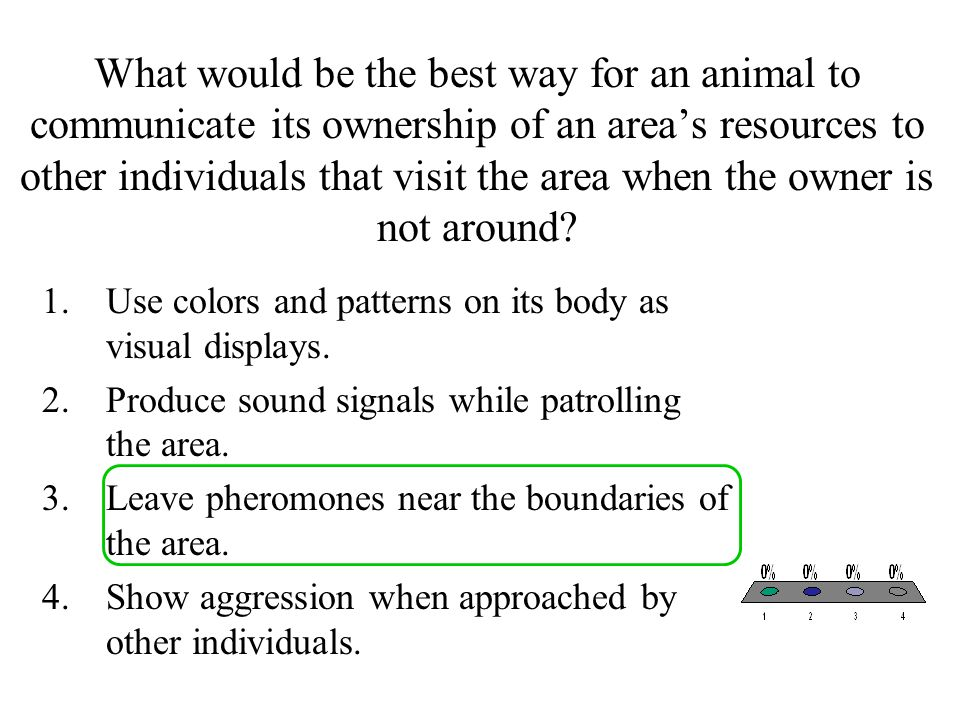 What would be the best way for an animal to communicate its ownership of an area's resources to other individuals that visit the area when the owner is not around
