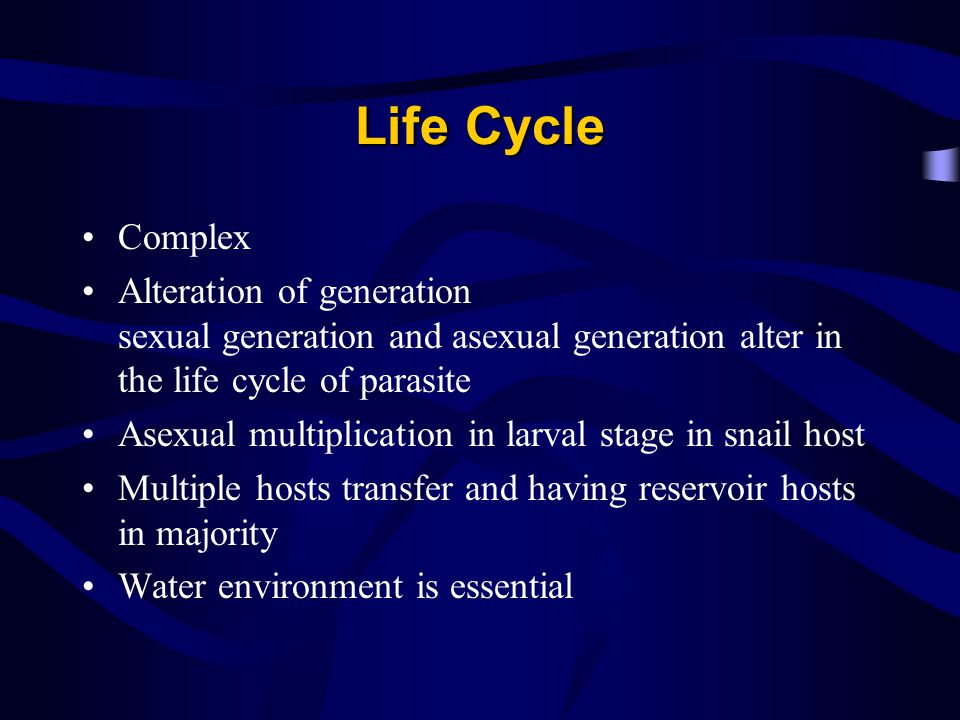 Life Cycle Complex. Alteration of generation sexual generation and asexual generation alter in the life cycle of parasite.