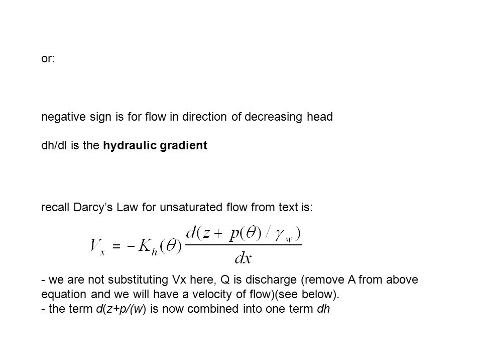 or: negative sign is for flow in direction of decreasing head. dh/dl is the hydraulic gradient.