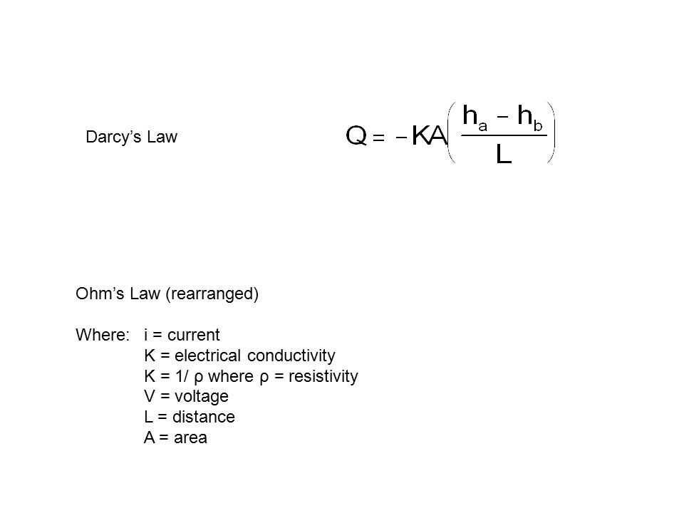 Darcy's Law Ohm's Law (rearranged) Where: i = current. K = electrical conductivity. K = 1/ ρ where ρ = resistivity.