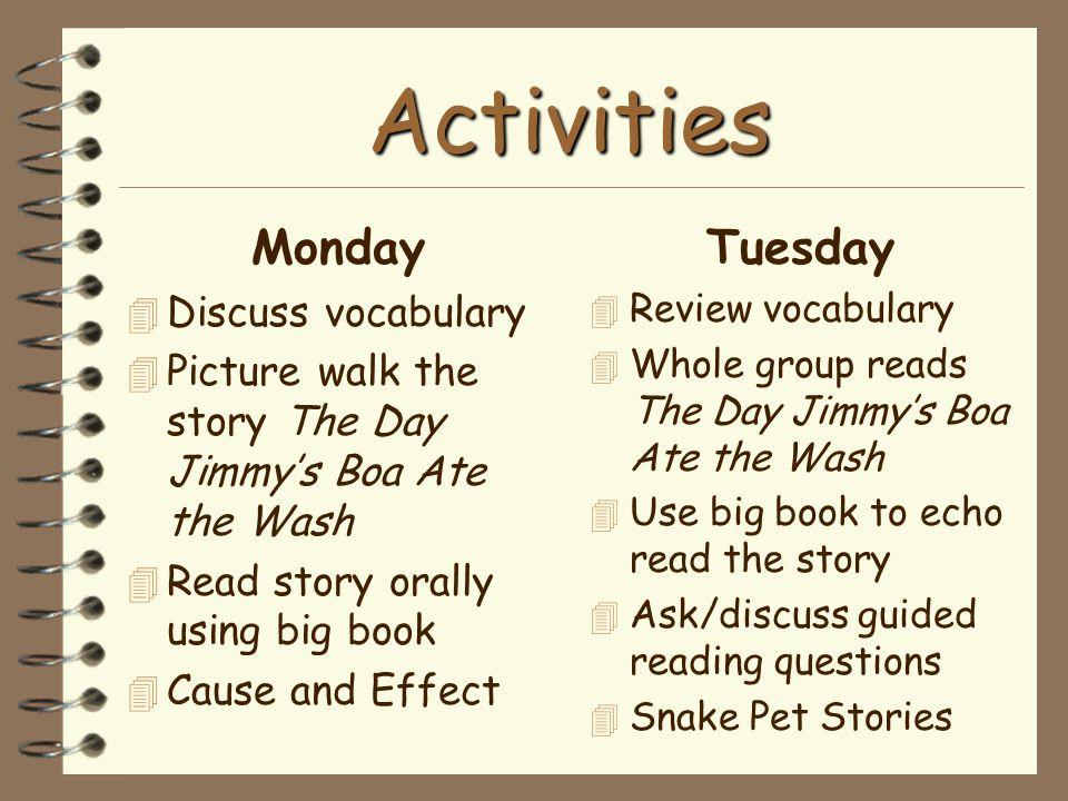 Activities Monday Tuesday Discuss vocabulary