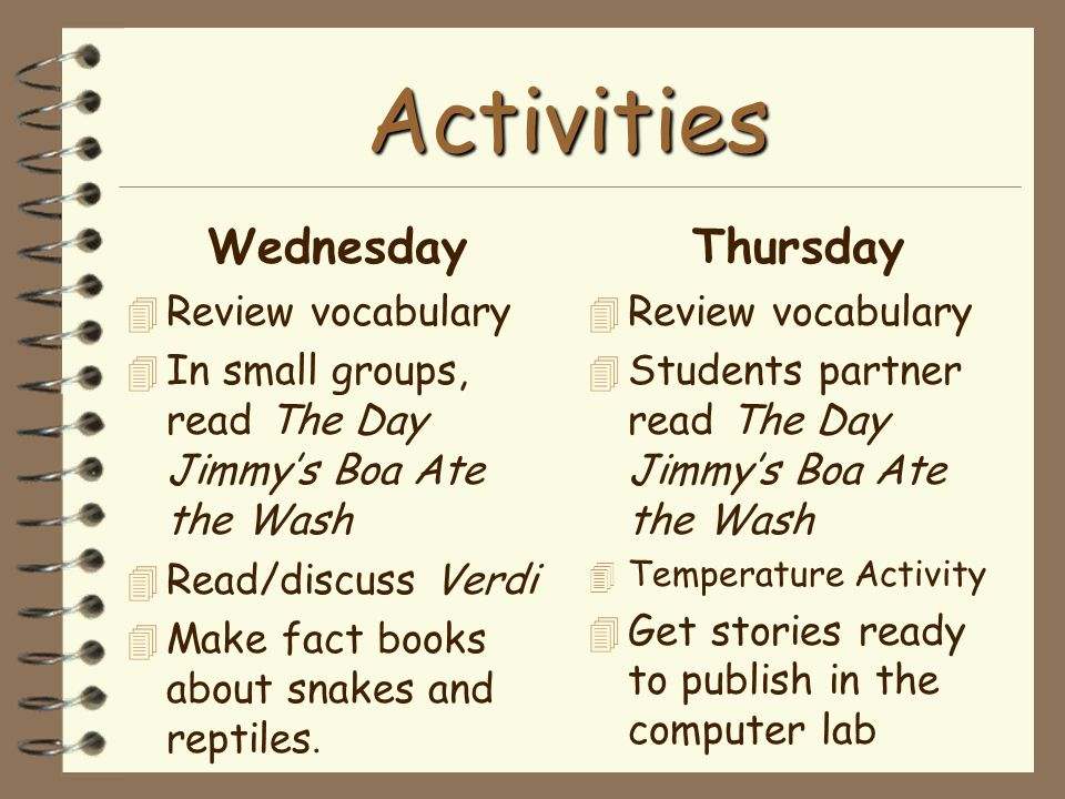 Activities Wednesday Thursday Review vocabulary