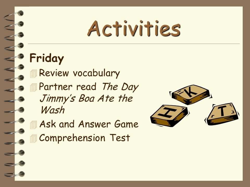 Activities Friday Review vocabulary