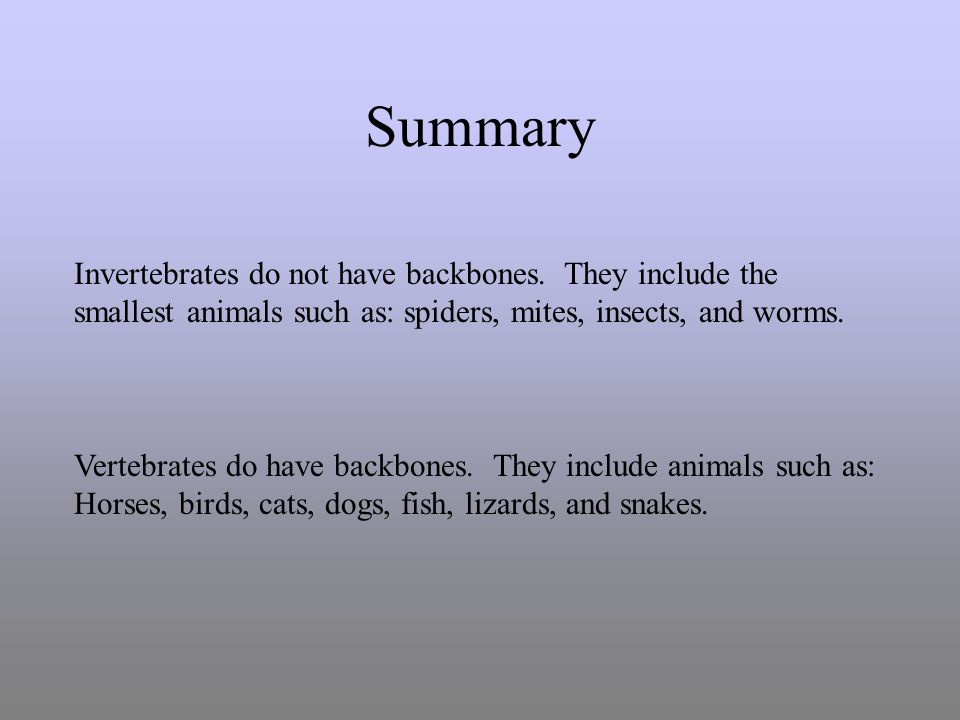 Summary Invertebrates do not have backbones. They include the