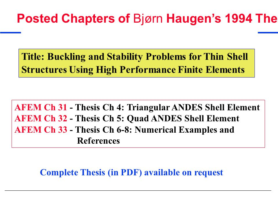 Posted Chapters of Bjørn Haugen's 1994 Thesis