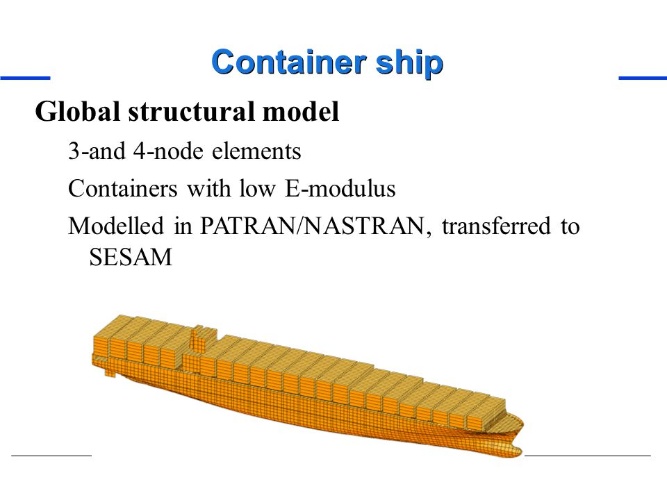 Container ship Global structural model 3-and 4-node elements
