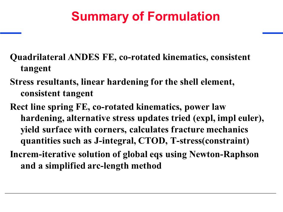 Summary of Formulation